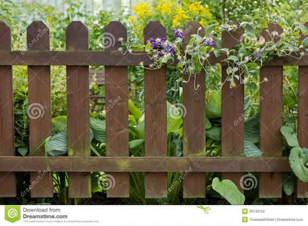 Alluring Wood Garden Fence Wooden Fence At A Garden Stock Photos Image 26743153