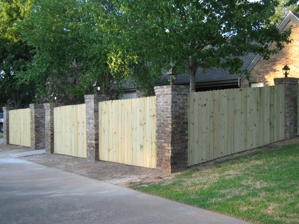 Brick And Wood Fence